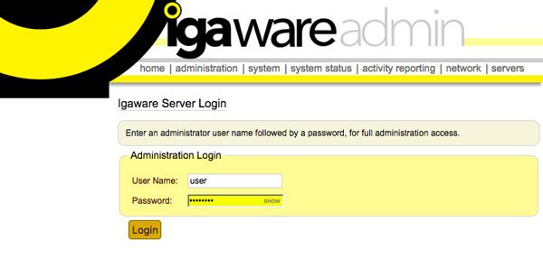 Igaware Admin Interface